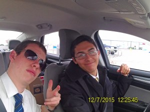 Elders Breinholt and Liu in Car