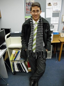 Tyler with Scarf in Office
